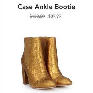 Sam Edelman Gold Leather Ankle Booties